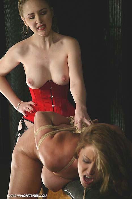Rough Lesbian Strap Bondage