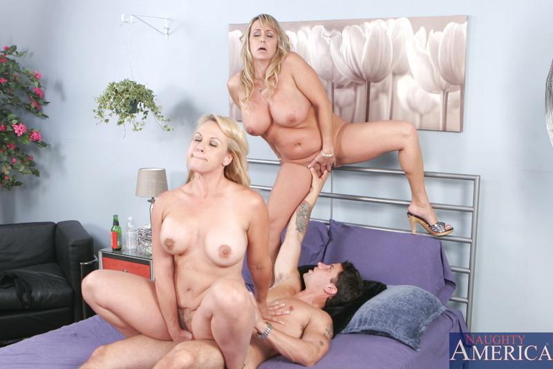 2 Brunette 1 Guy Threesome