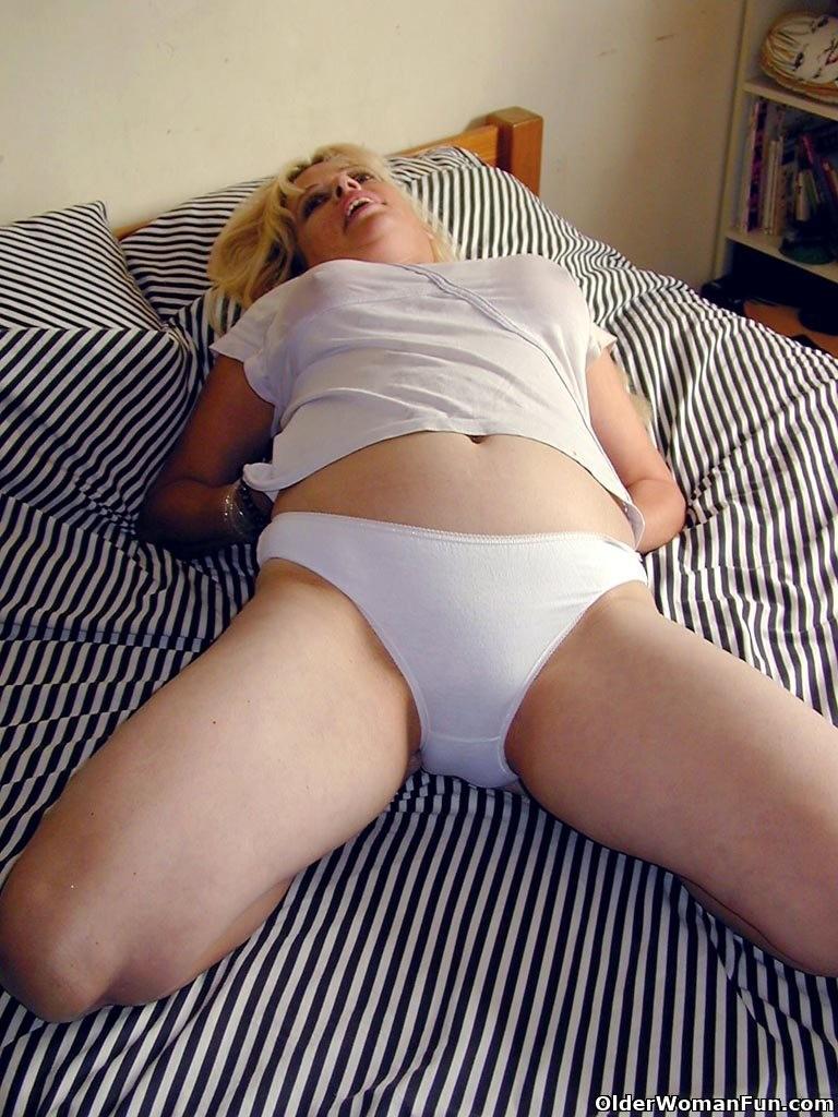 Blonde Milf White Lingerie