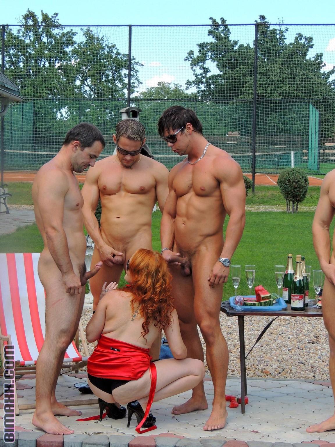 Bisexual pool orgy